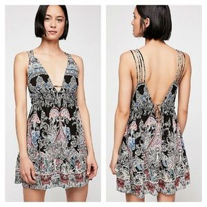 nwt // free people me to you printed slip dress